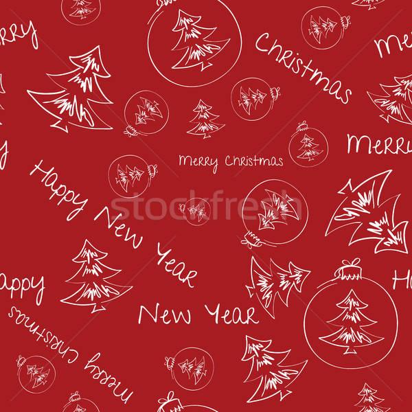 Natal decorações escolha papel de embrulho padrão Foto stock © artsvitlyna