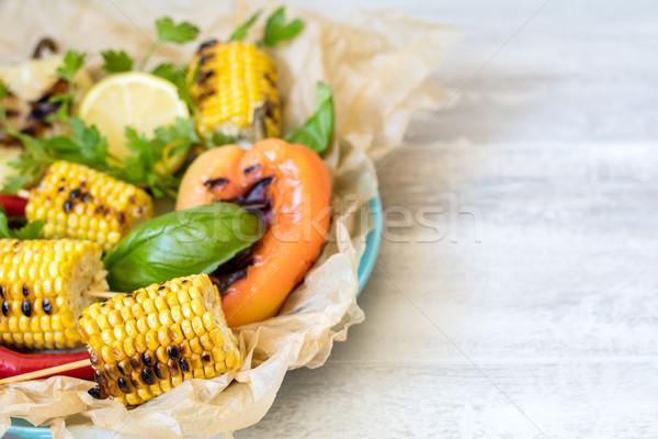 Kukorica sült olívaolaj bors só bazsalikom Stock fotó © artsvitlyna