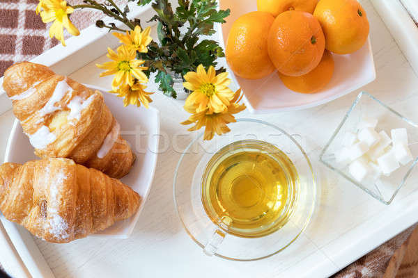 Delicious breakfast in tray Stock photo © artsvitlyna