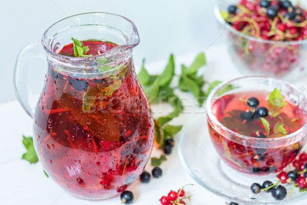 Stock photo: Fruit drink in transparent glass carafe and cup