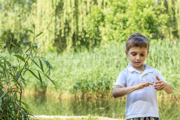 Happy little boy playing at the pond in the city park on a summ Stock photo © artsvitlyna