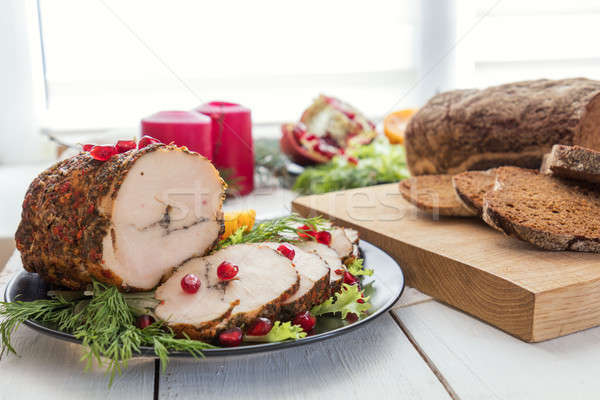 Christmas holiday dinner. Stuffed chicken breast Stock photo © artsvitlyna