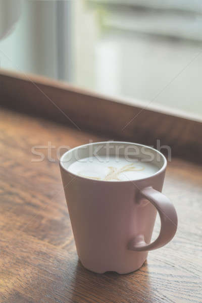 Stock photo: Cup of coffee latte on wood bar