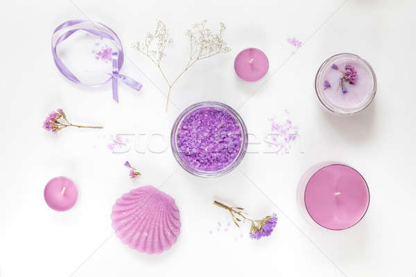 Spa products. Flat lay violet purple concept. Stock photo © artsvitlyna