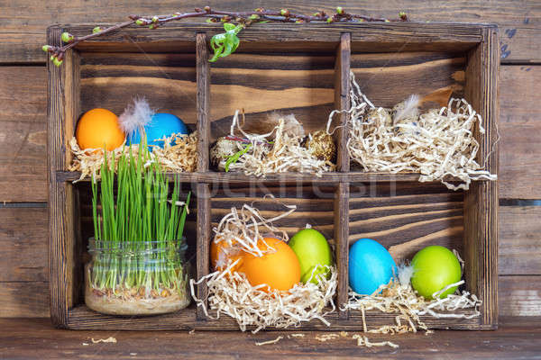 Happy easter holiday concept. Colorful chicken eggs quail eggs g Stock photo © artsvitlyna