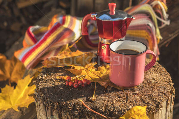 Stock photo: Multicolored scarf, cup of coffee, red coffee maker, yellow mapl