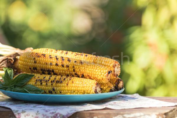 Milho azeite pimenta sal manjericão Foto stock © artsvitlyna