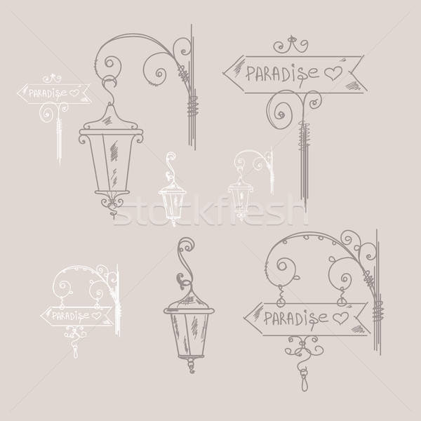 Hand drawn doodle street signs, sketch isolated vector illustration, hand drawn signs, street lamp,  Stock photo © artsvitlyna