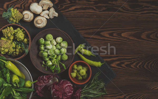 Stock photo: Fresh organic vegetables from the garden on wooden background. T