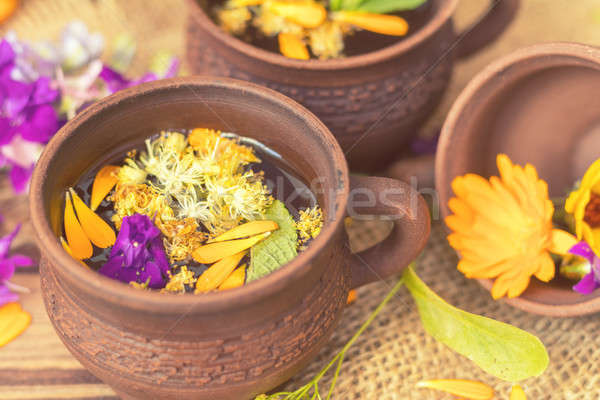 Stock photo: Ceramic cups of healthy herbal tea