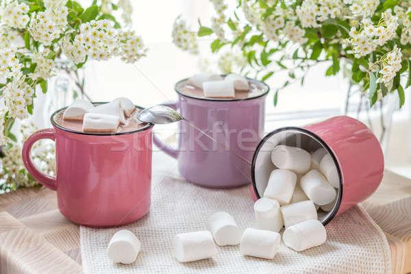 Top hot roze witte servet Stockfoto © artsvitlyna