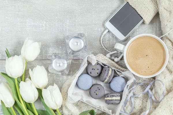 Belle romantique café aliments sucrés tasse chaud Photo stock © artsvitlyna