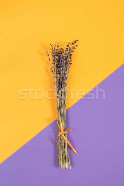 Beautiful dried lavender bouquet on violet yellow surface Stock photo © artsvitlyna