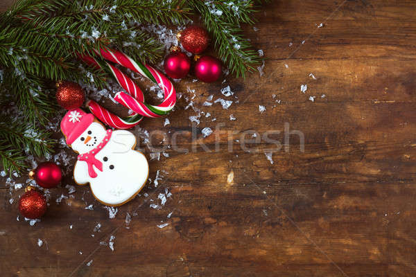 Natale ny buio capodanno pan di zenzero pupazzo di neve Foto d'archivio © artsvitlyna