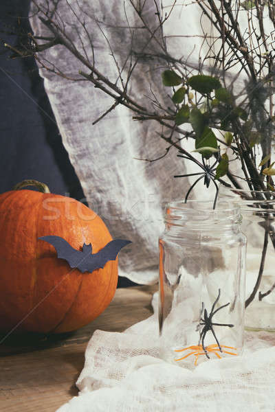 Stock photo: Halloween home decorations on dark background