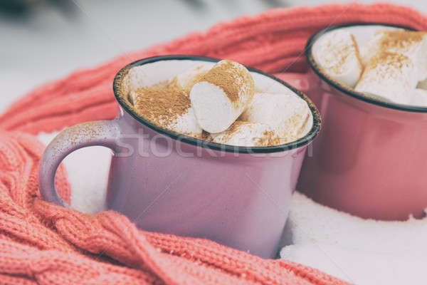 Stock photo: Hot chocolate with marshmallow in pink and violet two cups wrapp