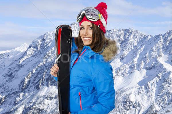 美 笑顔の女性 冬 山 笑顔 顔 ストックフォト © arturkurjan