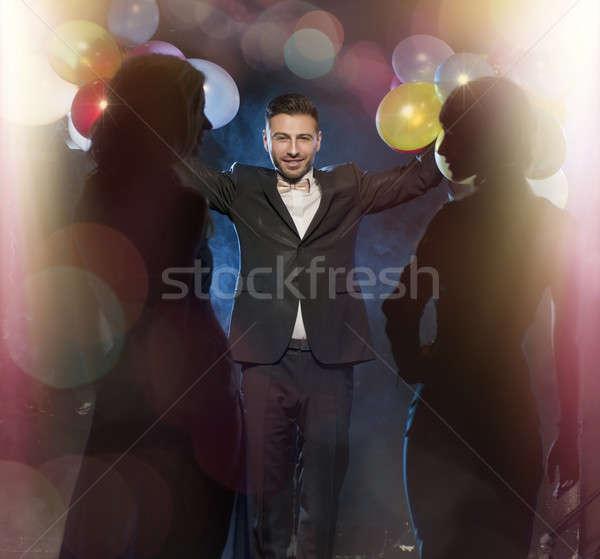 幸せ 若者 祝う 新しい 年 女性 ストックフォト © arturkurjan