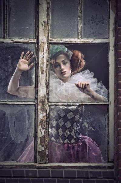 ストックフォト: 孤独 · 女性 · 後ろ · ガラス · 顔 · ウィンドウ