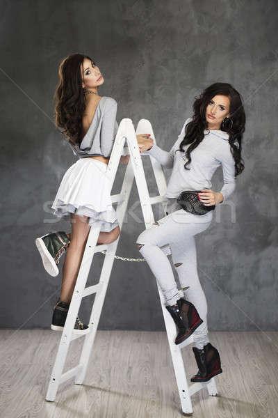 2 かなり ファッション モデル はしご ストックフォト © arturkurjan