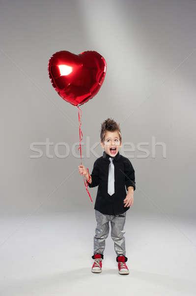 幸せ 小 少年 赤 中心 バルーン ストックフォト © arturkurjan