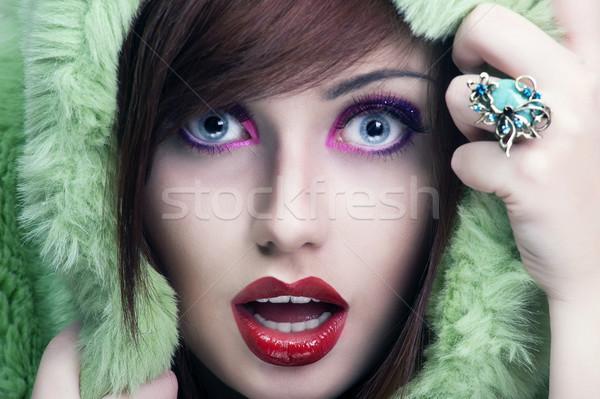 ストックフォト: 肖像 · 小さな · 驚いた · 少女 · 顔