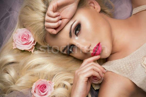 ストックフォト: ブロンド · 少女 · 花 · 女性 · 美しい
