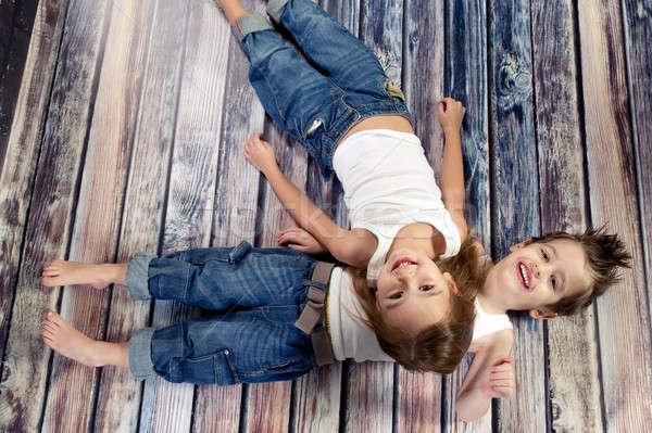 2 幸せ 子供 スタジオ 家族 赤ちゃん ストックフォト © arturkurjan