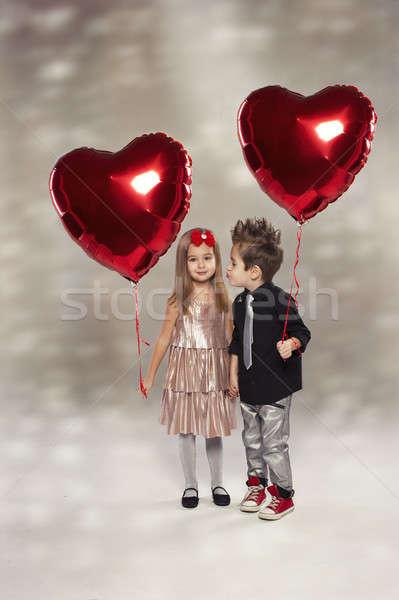 幸せ 子供 赤 中心 バルーン 光 ストックフォト © arturkurjan