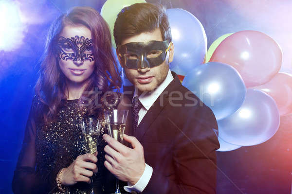 ストックフォト: 笑みを浮かべて · カップル · 眼鏡 · シャンパン · 女性 · 笑顔