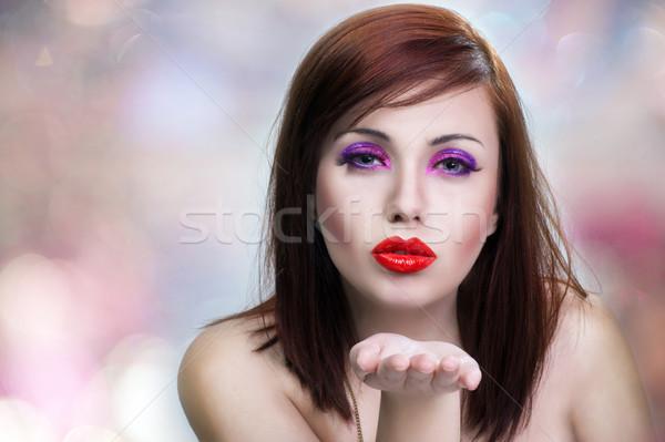 Stockfoto: Jonge · schoonheid · vrouw · hand · palm