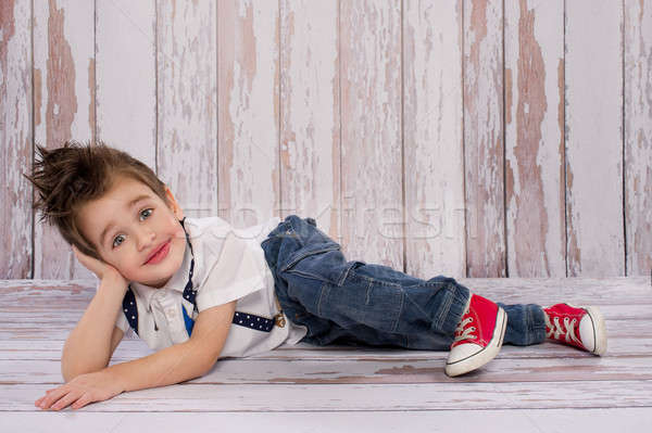 Stock fotó: Kicsi · fiú · boldog · divat · háttér · űr