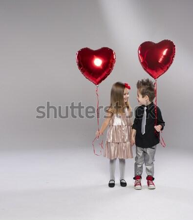 幸せ 若い女性 小 かわいい 少年 少女 ストックフォト © arturkurjan
