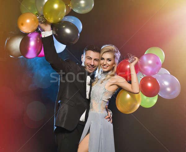 Souriant couple amour nouvelle ans fête Photo stock © arturkurjan