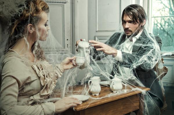 Drinken koffie oude kasteel voedsel Stockfoto © arturkurjan