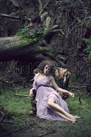 ストックフォト: かわいい · 女性 · 自然 · 風景 · 官能的な · ファッション