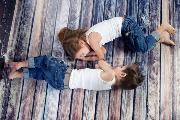 ストックフォト: 2 · 幸せ · 子供 · スタジオ · 家族 · 赤ちゃん