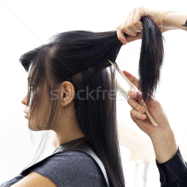 Woman in hairdressing salon do hair style. Stock photo © arturkurjan