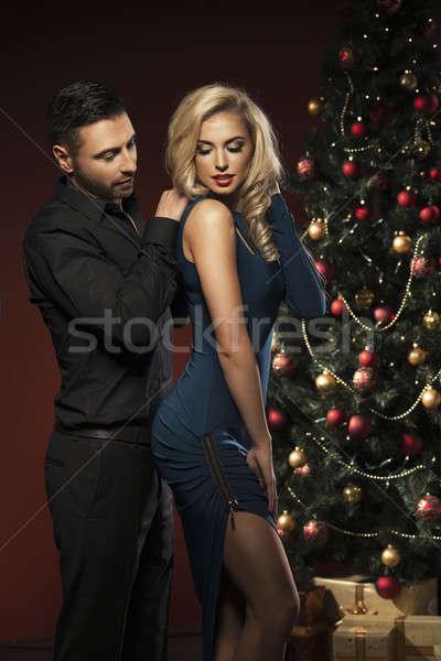 幸せ カップル クリスマスツリー 笑顔 愛 キス ストックフォト © arturkurjan