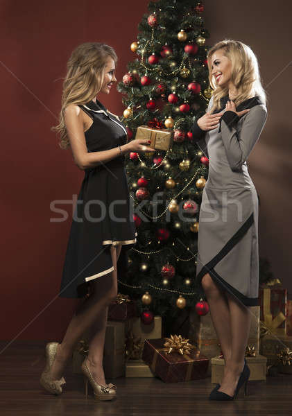 Szczęśliwy młodych ludzi dać inny prezenty choinka Zdjęcia stock © arturkurjan