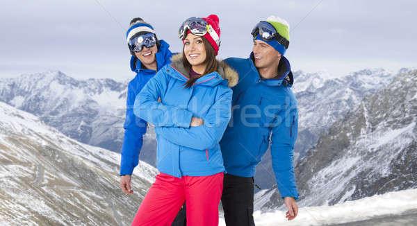 笑みを浮かべて グループ 友達 着用 スノーボード ストックフォト © arturkurjan