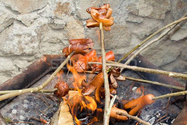 Outdoor grillen worstjes open vuur partij brand Stockfoto © artush