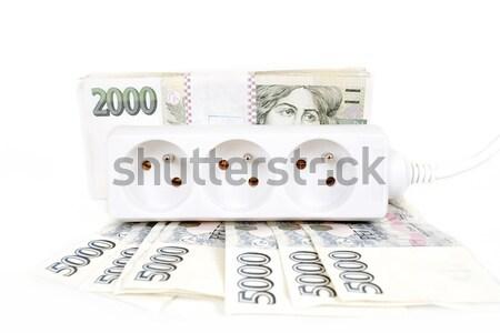 Argent coûteux énergie Bill pouvoir cordon Photo stock © artush