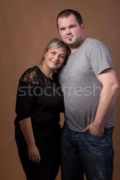Gyönyörű xxl nő férj stúdió divat Stock fotó © artush