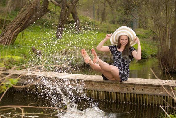 Wesoły modny kobieta mały most Zdjęcia stock © artush