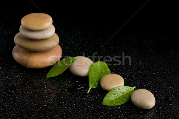 balancing zen stones on black Stock photo © artush