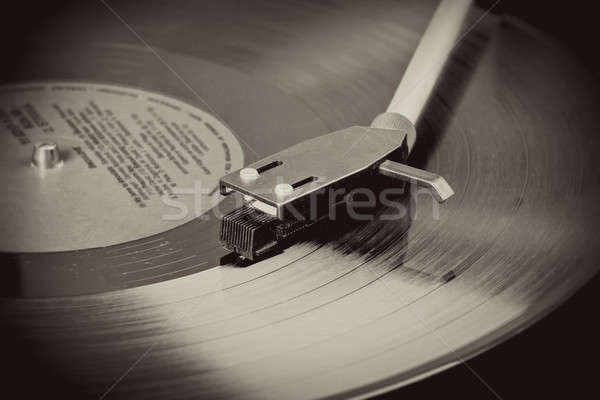 Vintage record player with spinning vinyl. Motion blur image.  Stock photo © artush