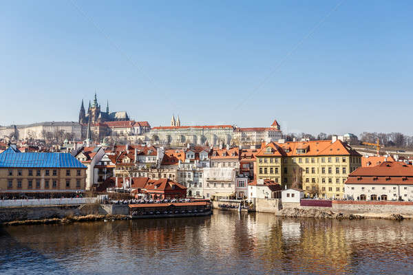 View of the castle and the Vltava River Stock photo © artush