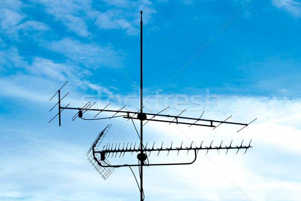 Alten Analog Fernsehen Antenne blauer Himmel Metall Stock foto © artush