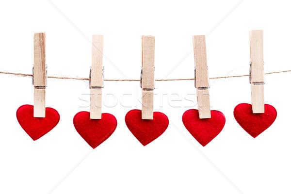 Zdjęcia stock: Czerwony · tkaniny · serca · wiszący · odizolowany
